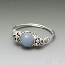 Angelite Periwinkle Bali Sterling Silver Wire Wrapped Bead Ring ANY size