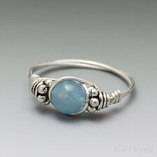 Blue Hemimorphite Bali Sterling Silver Wire Wrapped Bead Ring ANY size