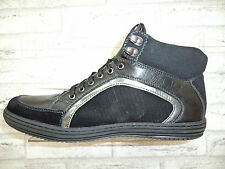 Mens New Hi Tops Black Formal Casual Shoes Trainers Size 7 8 9 11