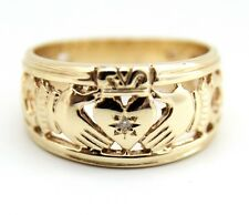 Claddagh Ring 9ct Gold & Diamond Full Band
