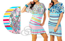 NEW Party Dress Multi Patterns Tunic Style Boat Neck Batwing Size 8 -12 HQ 5044