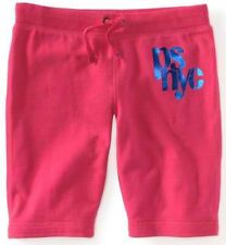 Pink Kids PS Aeropostale Girls NYC Shine Drawstring Knit Bermuda Shorts Sz 4 5