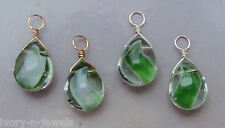 Reversible Green Cats Eye Glass Marble INTERCHANGEABLE Earring Charms YG or SS