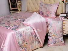 4 PCS 16MM 100% SILK PRINTED DUVET COVER FITTED SHEET PILLOW SHAMS SET ALL SIZE