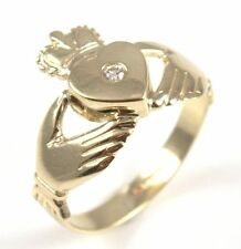 Claddagh Ring Diamond Set 9ct Gold