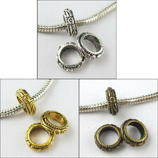 50 Antiqued Silver,Gold,Bronze Round 7mm Hole Charm Bead Fit Bracelet 11mm P080
