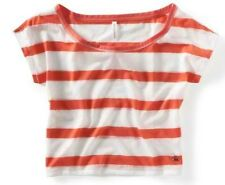 Berry/White Aeropostale Aero Womens Cropped Lace Stripe Dolman Tee Shirt Sz XL
