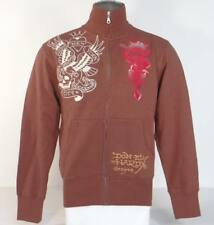 Ed Hardy New York City Tattoo Graphics Brown Slim Fit Track Jacket Men's NWT