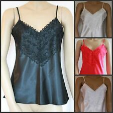 LUXURY Satin and Lace Camisole Top RED, BLACK, CREAM or WHITE UK Made