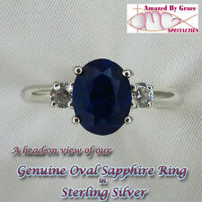 Sterling Silver GENUINE Oval SAPPHIRE Ring-Rough Cut w/Clear Cz Accents sz-8 & 9