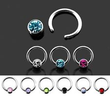 New Captive Bead Ring with Gemstone 1.2mm x 8mm Tragus Labret Hoop UK Seller