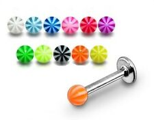 New Candy Stripe Labret Tragus Bar 1.2mm x 6mm,8mm,10mm various colours 3mm ball