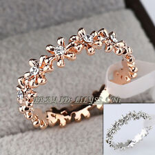 A1-R3028 Fashion Ring Flower 18KGP Use Swarovski Crystal