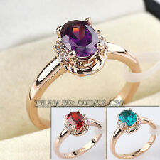 Fashion Simulated Gemstone Ring 18KGP Rhinestone CZ Crystal Sz 5.5-9