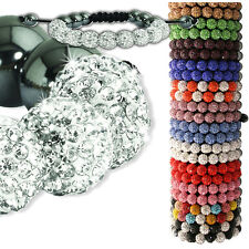 """BUY 1 GET 1 FREE"" LADIES 9 BALL SHAMBALLA CRYSTAL BRACELET BLING DISCO ADULT"