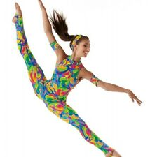 WATERCOLOR Unitard w/Head & ArmBands Acro Affordable Dance Costume Child X-Small