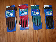 NWT Womens Comfort Fit GRANDOE Gloves Memory Foam Leather Black Brown Red Green