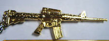 MACHINE GUN SCALE MODEL REPLICA RIFLE GOLD M4A SILENCER & ATTCHMENTS KEYRING UK