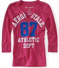 Pink Aeropostale Womens V Neck Aero 87 Athletic Dept Graphic Tee Shirt Sz M L