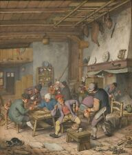 Room Inn Peasants Drinking Smoking Playing Backgam 1678 Adriaen Van Ostade  Art