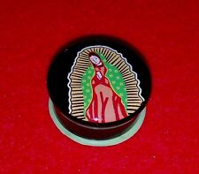 "New Acrylic Single Flared ""  Virgin De Guadalupe "" Logo Plugs.( 2g  to 1"" inch )"