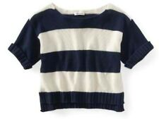Aeropostale Aero Womens Cropped Classic Navy Stripe Open Crew Neck Sweater Sz XL