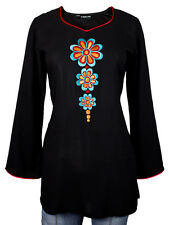 Ladies Indian Long Sleeve Kurta-Kurti Tops Black KL6567 Various Sizes