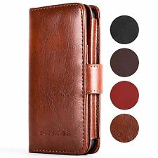 SNAKEHIVE® Genuine Real Leather Wallet Flip Case Cover for Apple iPhone 5/5S