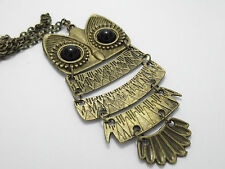 ** VINTAGE OWL RING AND NECKLACE * BRONZE SILVER * FUNKY KITSCH RETRO GIFT **