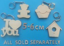 Wooden HOUSE keyring BLANK  decorate Other Shapes Available Heart Teddy Car etc