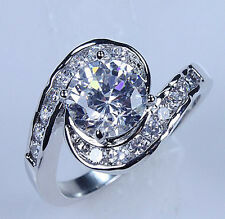Size 6/7/8/9 Nice Lady's 10KT White Gold Filled White sapphire Diamonique Ring
