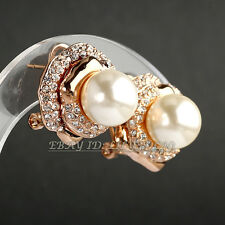 Rhinestone Pearl Stud Earrings Lever Back 18K GP Crystal