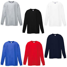 New Fruit of the Loom Childrens Kids Long Sleeve T Shirt 6 Colour Ages 3-15