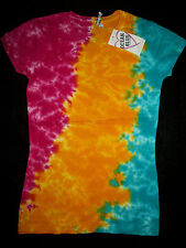 Women Fitted Tie-Dye Top Shirt Cool Woodstock Multi Color  Love Peace