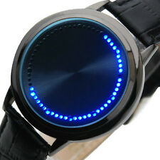 NEW Fashion Mirror Blue LED Circle Dial Touch Sports Mens Lady Metal Cuff Watch