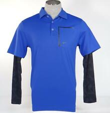 Nike Golf Tour Performance Dri Fit Blue Layered Long Sleeve Polo Shirt Mens NWT
