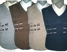 Mens Sleeveless sweater jumper Tank top Cardigan/Jersey navy/grey/brown/beige
