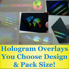 Hologram Overlays For PVC and Teslin ID Cards - YOU Choose Design & Pack Size!
