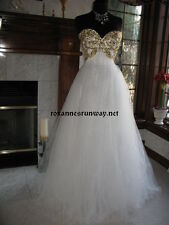 Sherri Hill 21090 Ivory Gold  Silver Pageant Prom Gown Dress sz 10 or 14