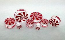 "New Acrylic  Hand Painted ""Peppermint Logo"" Double Flared Plugs ( 2 g To 1inch )"