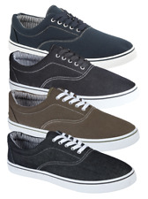 NEW MENS BOYS CASUAL CANVAS  LACE UP FASHION PUMPS PLIMSOLES SHOES SIZES 7-12
