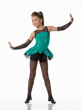 A GIRL CAN ROCK Biketard w/Mitts Tap Ice Skating Dance Costume Child Small & 6x7