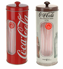 Coca Cola Retro Style Tin Straw Container With 50 Straws - 5  Designs