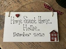 Personalised HOME SWEET HOME hanging Plaque Sign Chic Shabby House Warming gift