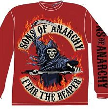 SONS OF ANARCHY Flaming Reaper Longsleeve M L XL Shirt NEW SOA biker samcro