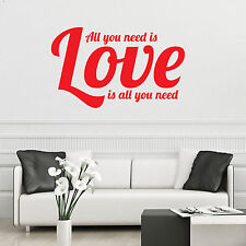 All You Need Is Love Beatles Wall Art Sticker Vinyl Decal Dining Lounge Bedroom