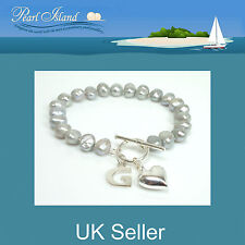 Personalised Silver Grey Freshwater Baroque Pearl Bracelet with T-bar Clasp
