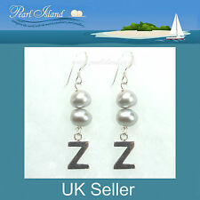 Personalised Freshwater Pearl Earrings with Silver Grey Baroque Pearls
