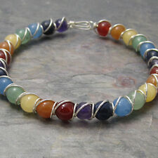 Rainbow Chakra Beaded Sterling Silver Wire Wrapped Bracelet