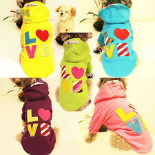 LOVE Hoodie Fleece Pet Dog Clothes Winter Coat Sweater for small dogs